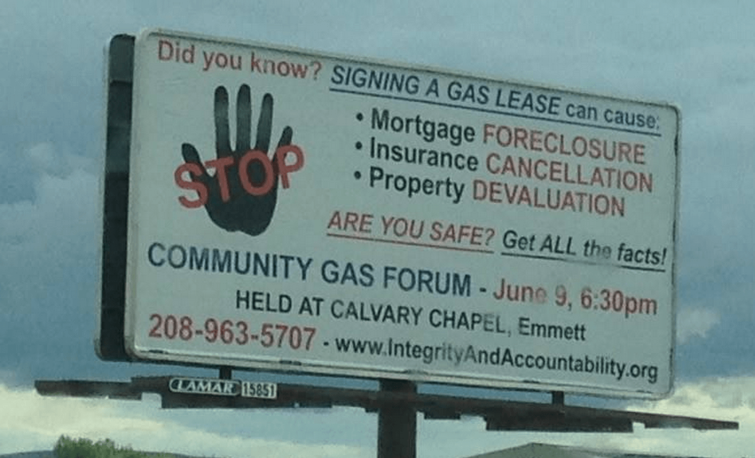 Idaho Groups Schedule Town Hall to Warn Citizens About Dangers of Signing Gas Leases