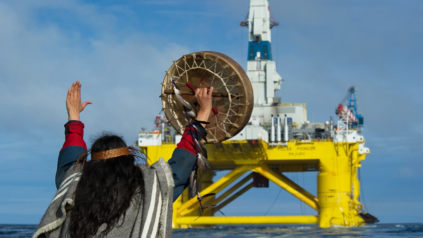 Armed With Only Feather and Drum, First Nations Activist Takes On Shell's Behemoth Arctic Drill Rig