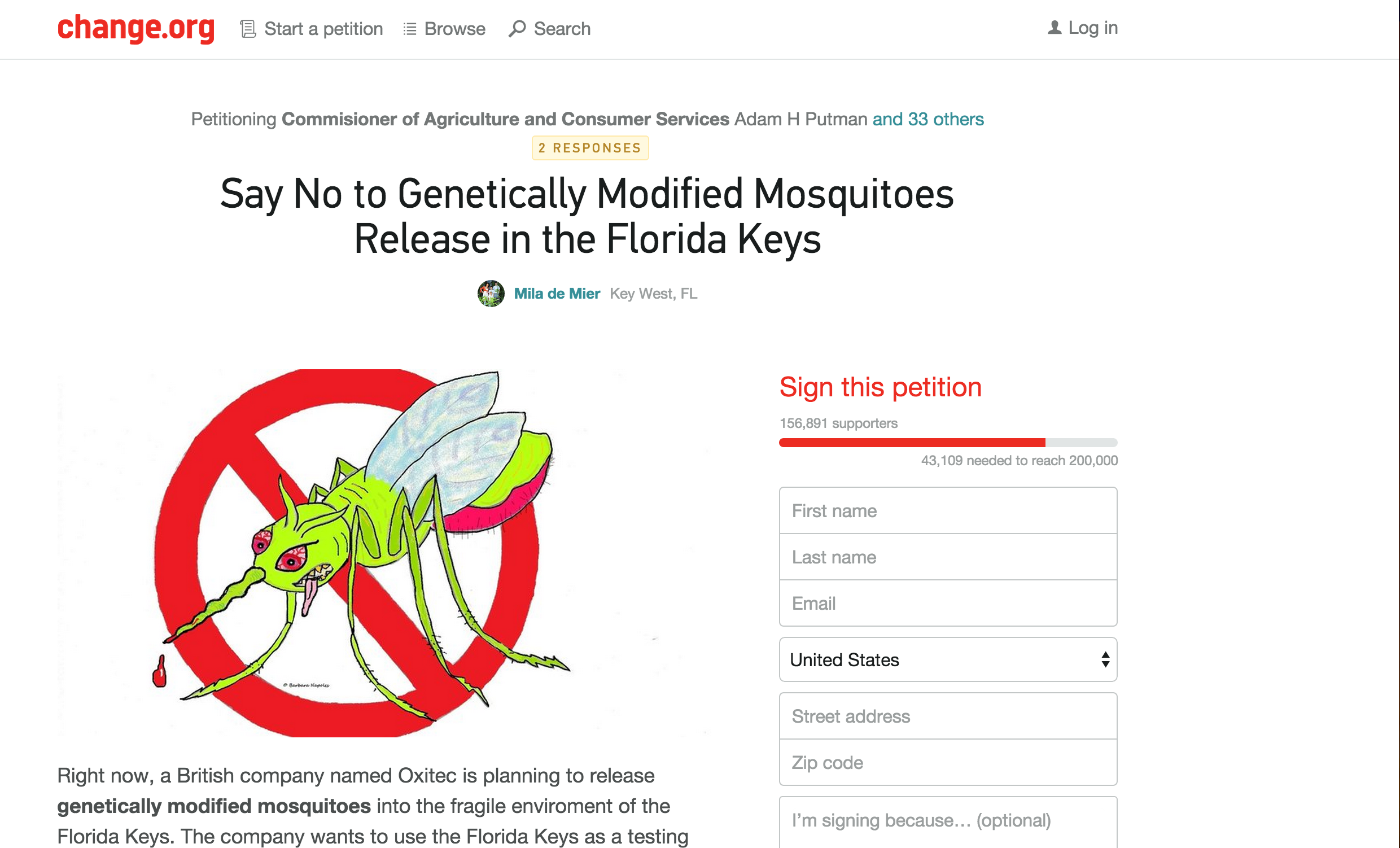 Petition Aiming to Stop the Release of GMO Mosquitos into Key West Still Going Strong