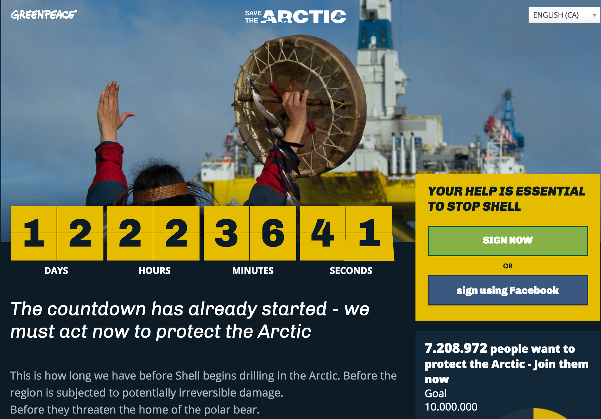 Greenpeace's 'Save the Arctic' Campaign Starts Official Countdown to Shell's Icy Ocean Drilling