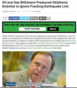 Harold Hamm Frackquake Headline -- Ecowatch