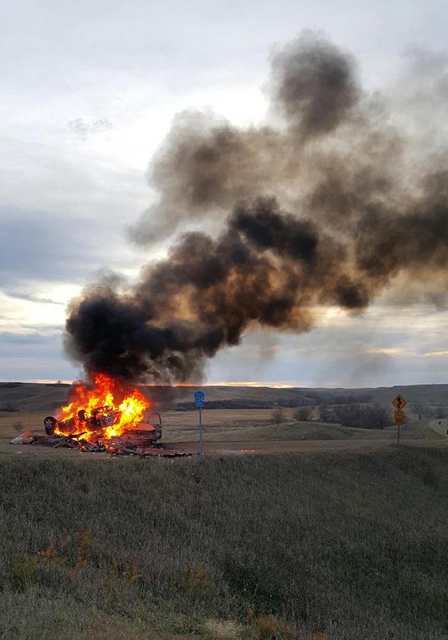 Native American 'Protectors' Burn DAPL Security Truck