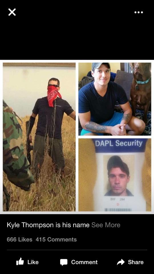 Suspect Kyle Thompson -- DAPL Security Guard