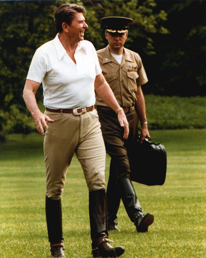 Ronald Reagan Being Tailed by the Nuclear Football