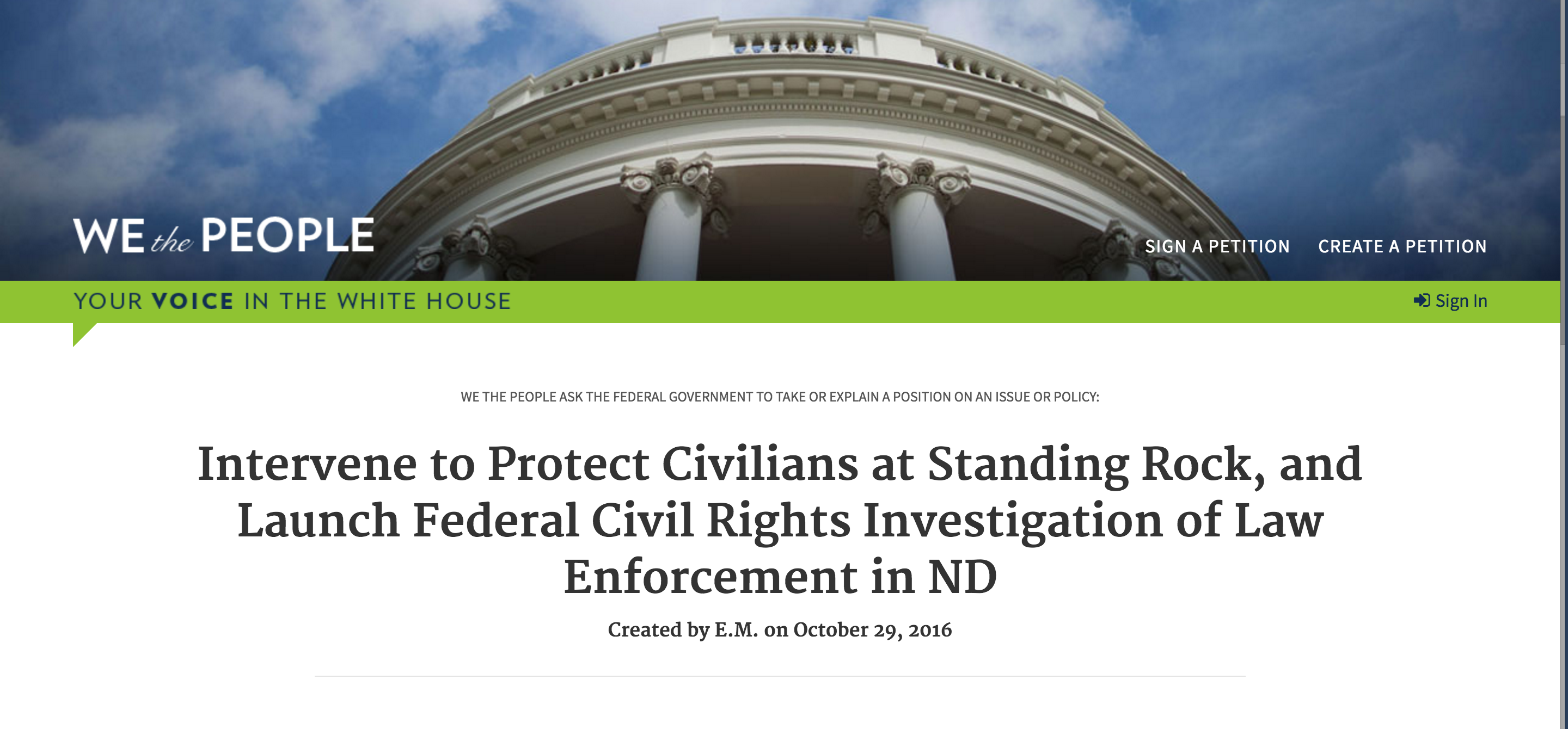 Petition Watch: 'Launch DOJ Civil Rights Investigation of Law Enforcement' Over DAPL Growing Fast