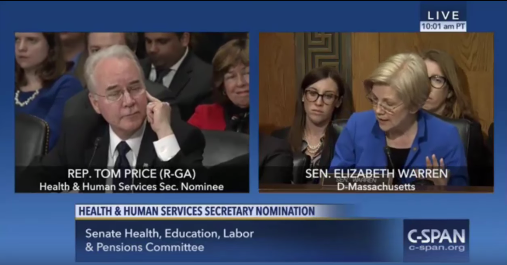 WATCH: Elizabeth Warren Lambasts Trump's HHS Pick Tom Price on Insider Trading Scandal in Senate Hearing