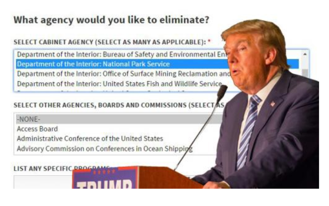 Trump Web Page Asks Americans if They'd Like Him to Kill the National Park Service, Forest Service