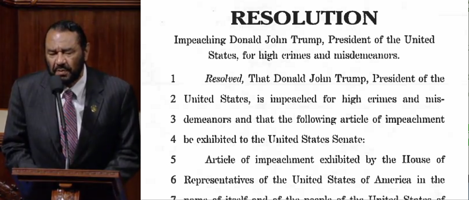 First Article of Impeachment Filed Against President Donald J. Trump by Two House Dems